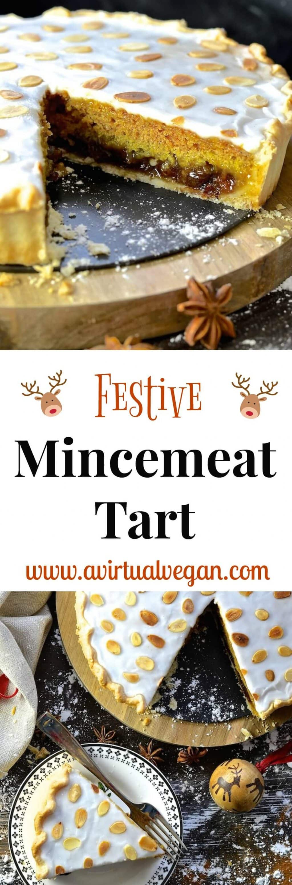 A Festive Mincemeat Tart with crisp pastry, sweet mincemeat, spice infused sponge & sweet frosting. It's rich, indulgent & perfect for the holidays!