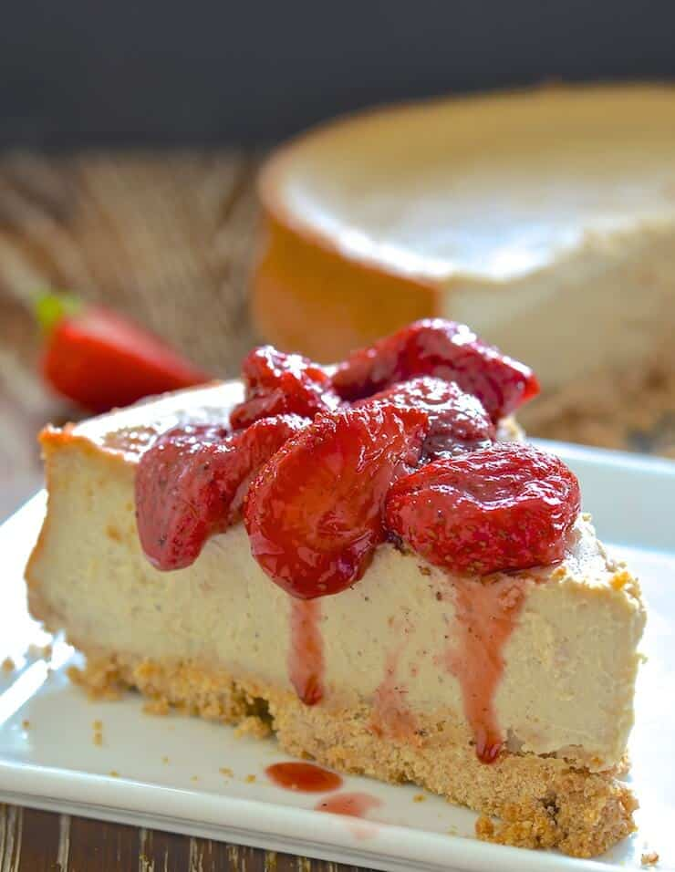 Ultra-rich, decadently dense & creamy Baked Vegan New York Cheesecake. Dessert perfection!