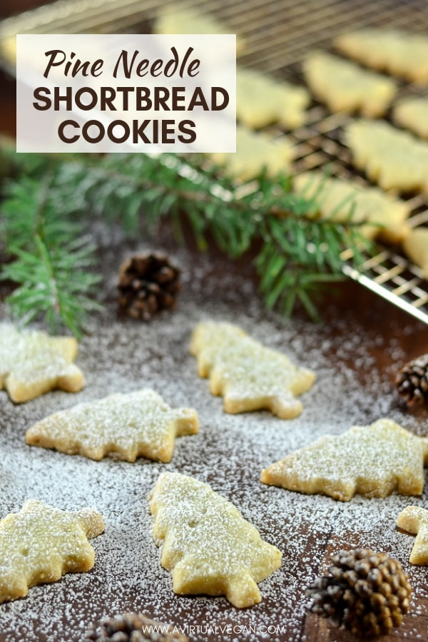 Melt in your mouth Pine Needle Shortbread Cookies. A twist on an old favourite with just a hint of piney, citrusy flavour. Delicate, delicious & sure to impress! #shortbread #cookies #shortbreadcookies #vegancookies #vegan #christmas