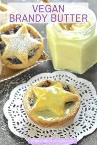 My Vegan Brandy Butter is a hard sauce which, on contact with something warm, becomes a drippy, rich & boozy sauce. It is absolutely perfect when slathered over hot mince pies or Christmas pudding!