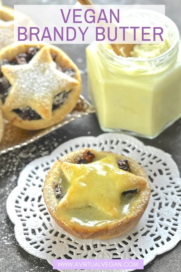 My Vegan Brandy Butter is a hard sauce which, on contact with something warm, becomes a drippy, rich & boozy sauce. Perfect slathered over hot mince pies at Christmas! #brandybutter #vegan #christmas