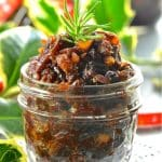 Festive, rich & fruity Vegan Mincemeat steeped in boozy deliciousness! A Christmas staple that is really easy to make & can beused in all sorts of ways. It's also perfect for gifting.