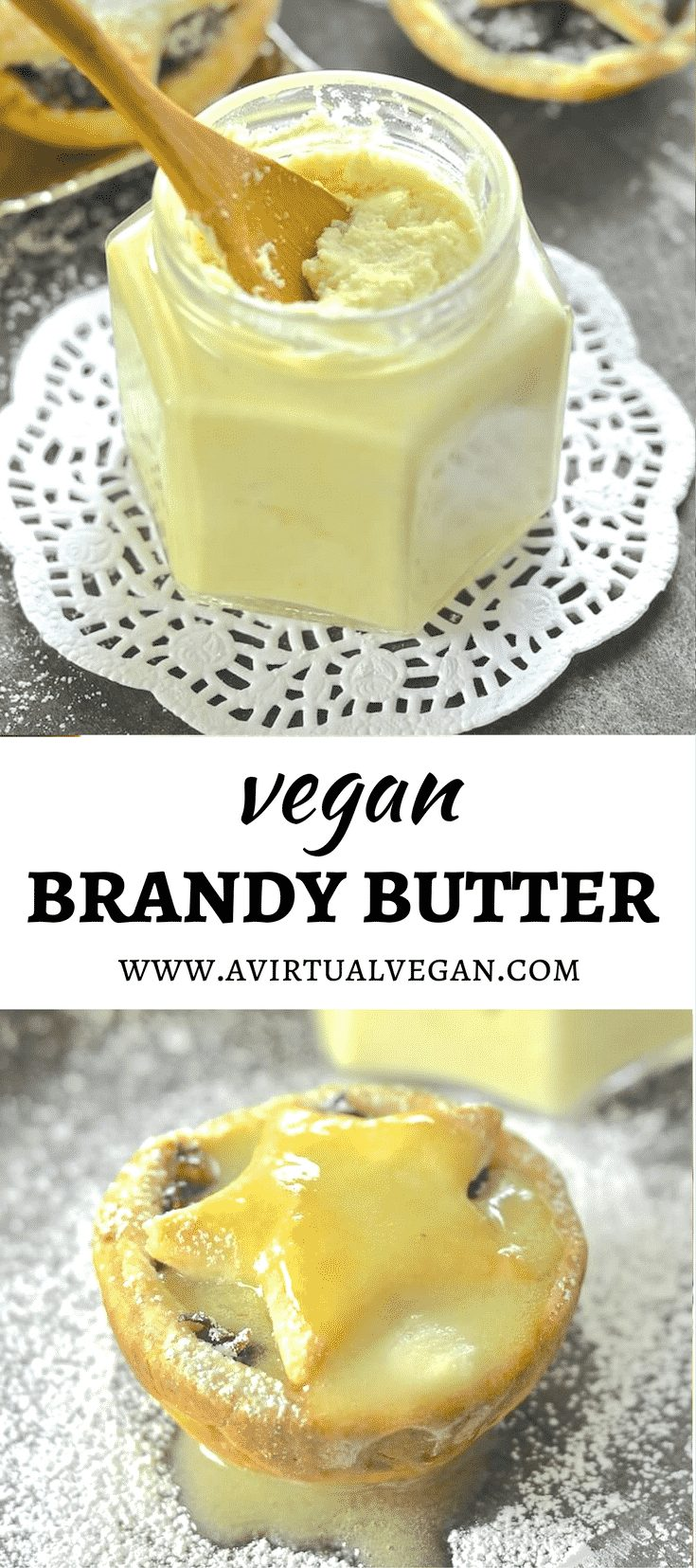 My Vegan Brandy Butter is a hard sauce which, on contact with something warm, becomes a drippy, rich & boozy sauce. Perfect slathered over hot mince pies!