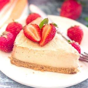 a slice of vegan cheesecake