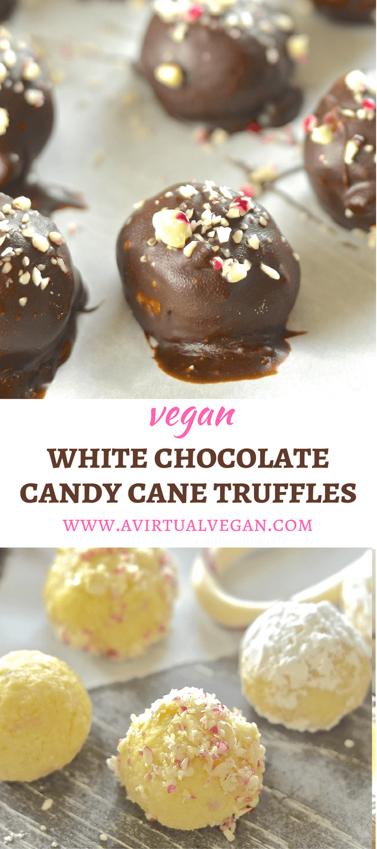 These festive Vegan White Chocolate Candy Cane Truffles are meltingly rich, sweet, creamy & indulgent.