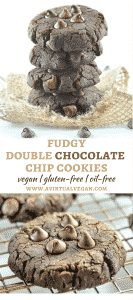 Rich, fudgy Double Chocolate Chip Cookies with squidgy, brownie-like insides & surprisingly healthy ingredients. No gluten, no oil, no dairy & no eggs!
