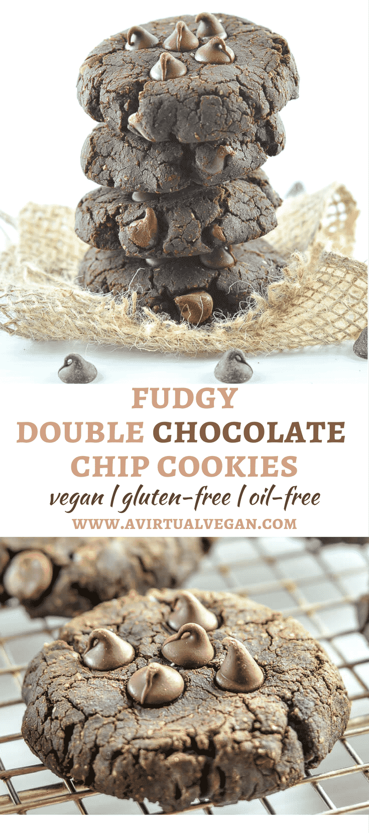 Rich, fudgy Double Chocolate Chip Cookies with squidgy, brownie-like insides & surprisingly healthy ingredients.