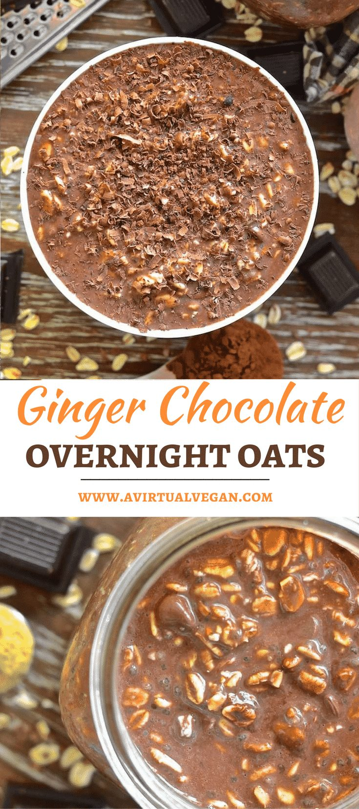 Ginger Chocolate Overnight Oats - Wake up to a jar of chocolatey, oaty goodness with a touch of aromatic ginger warmth. No cooking involved