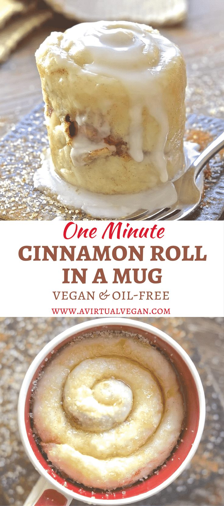 If you have a mug, a microwave & a spoon you can make this One minute Cinnamon Roll in a Mug. Perfect for when you NEED dessert now!