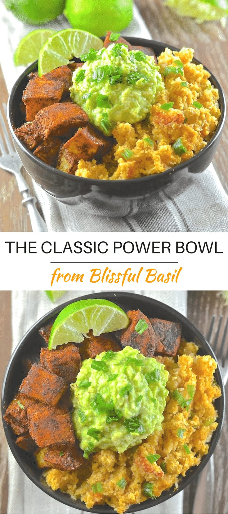 Find your bliss with The Classic Power Bowl from Blissful Basil. Spicy cauliflower rice, warming sweet potatoes & garlicky avocado mash.