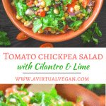 This Tomato Chickpea Salad with Cilantro & Lime has all sorts of good going on. It's full of nutrition, can be made in minutes & is packed with fresh, citrusy flavour!