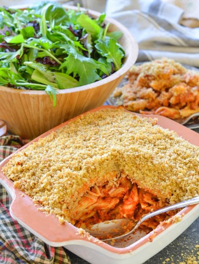This Tomato Pasta Bake with Garlicky Crumb topping is a budget friendly, hearty & delicious meal that the whole family will love!