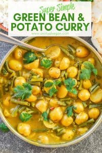 A really super simple Green Bean & Potato Curry that is budget friendly, only has 8 ingredients & needs nofancy-schmancy spices.