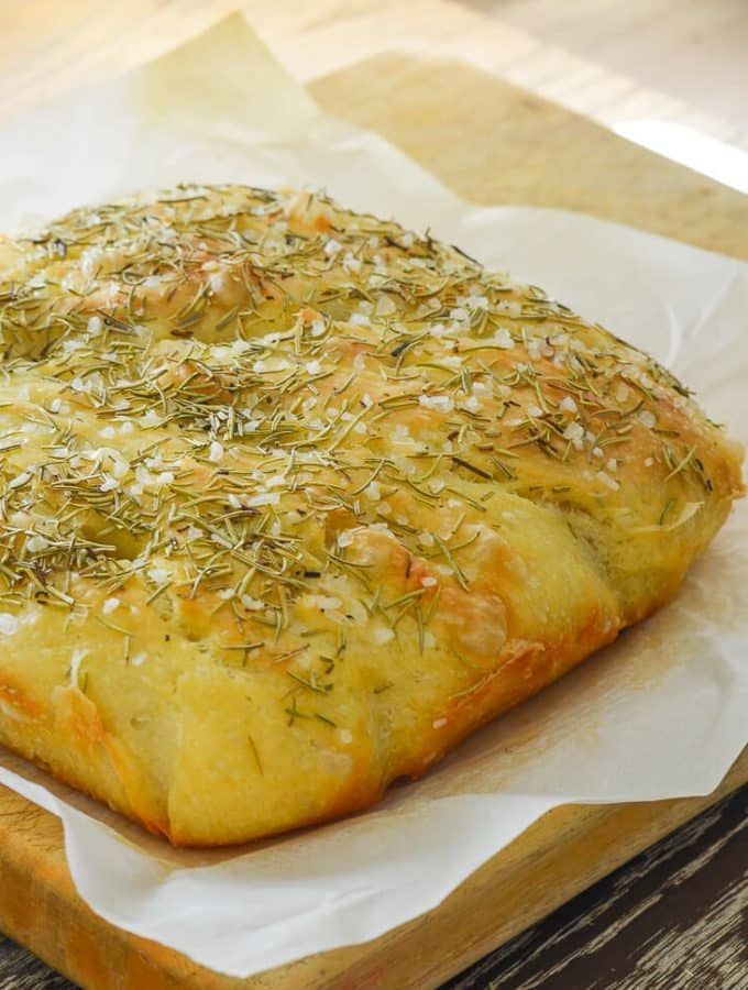 Easy No Knead Focaccia Bread with Rosemary & Sea Salt