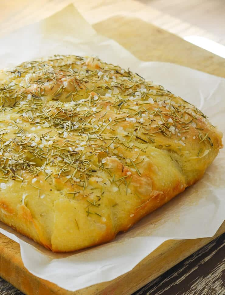 Easy No Knead Focaccia Bread With Rosemary Sea Salt
