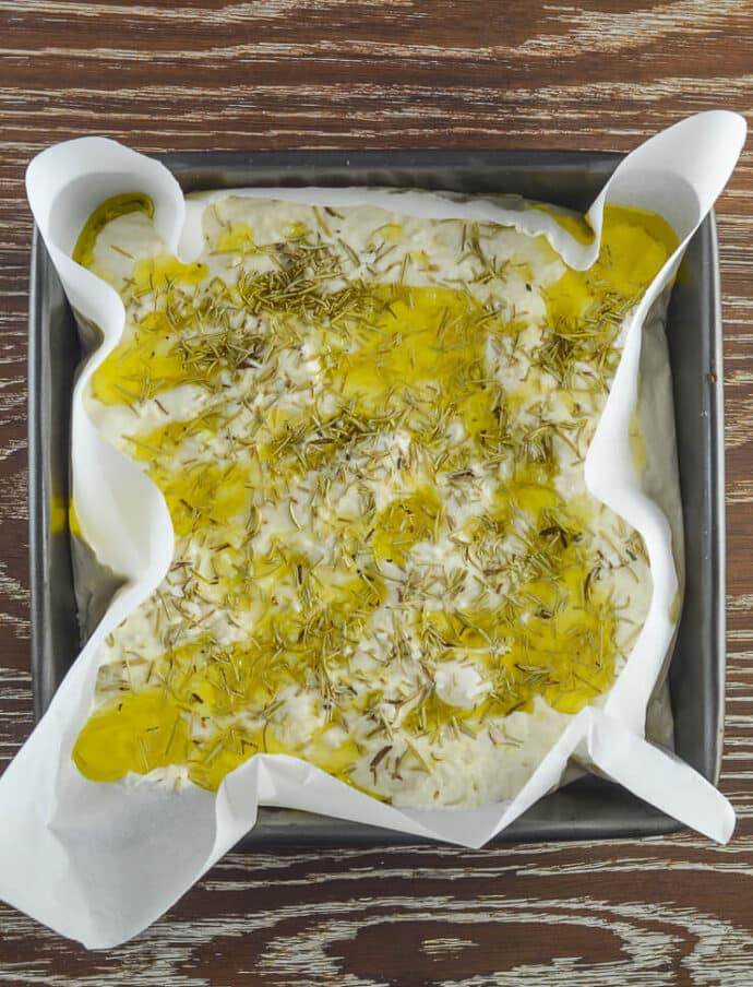 olive oil drizzled focaccia dough