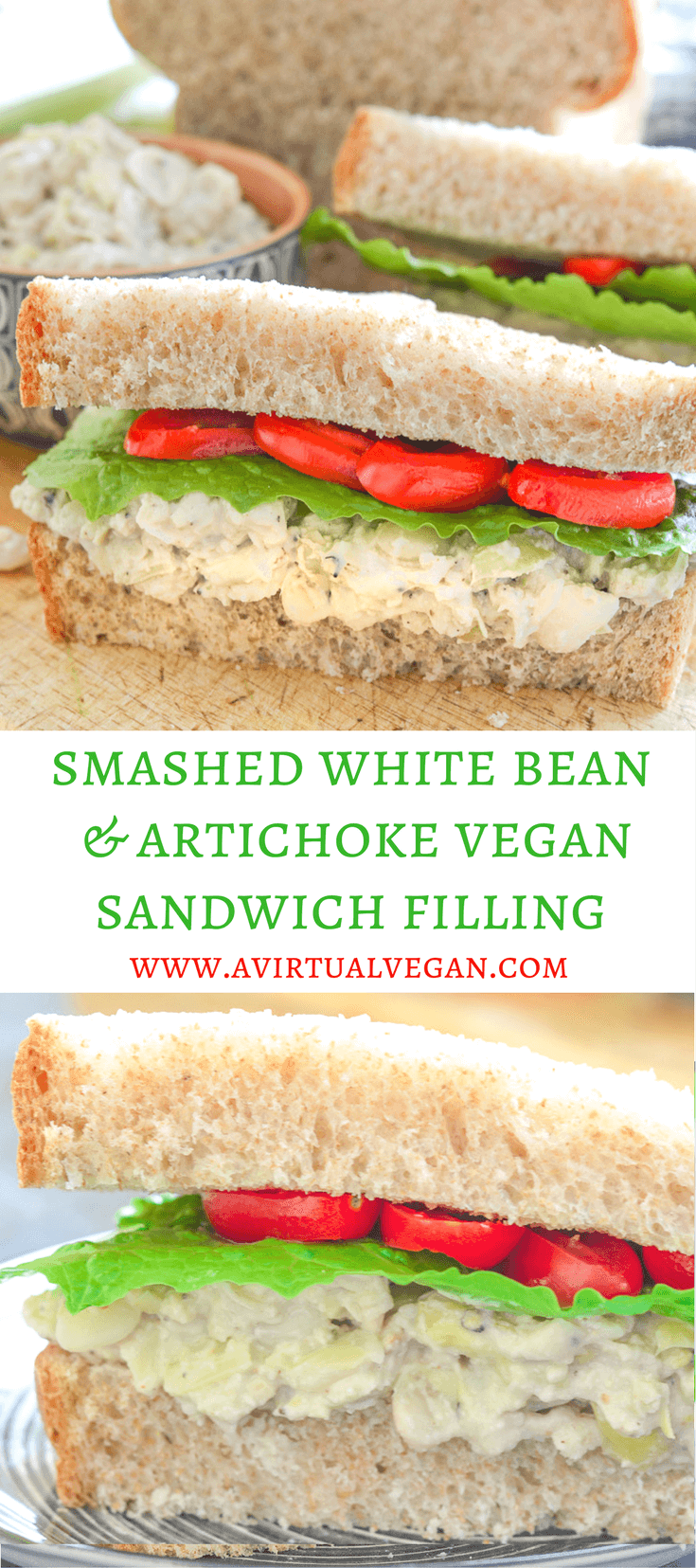Creamy Smashed White Bean & Artichoke Vegan Sandwich Filling with hints of rosemary & lemon. Fresh, delicious & so easy to make!