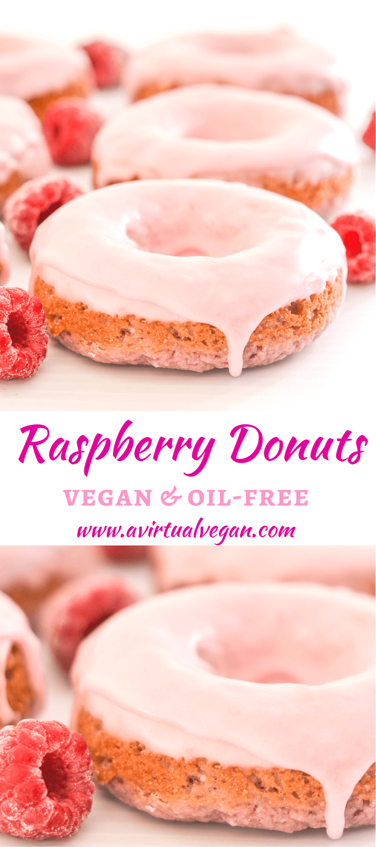 Soft & fluffy oil-free baked Vegan Raspberry Donuts with sweet, pretty in pink glaze. Infused with sweet raspberry flavour & so delicious!