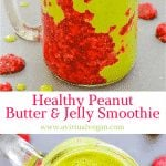 A sweet, creamy Peanut Butter & Jelly Smoothie stuffed with all sorts of healthy ingredients plus a beautiful smear of homemade raspberry chia jam. The perfect satisfying breakfast or snack!