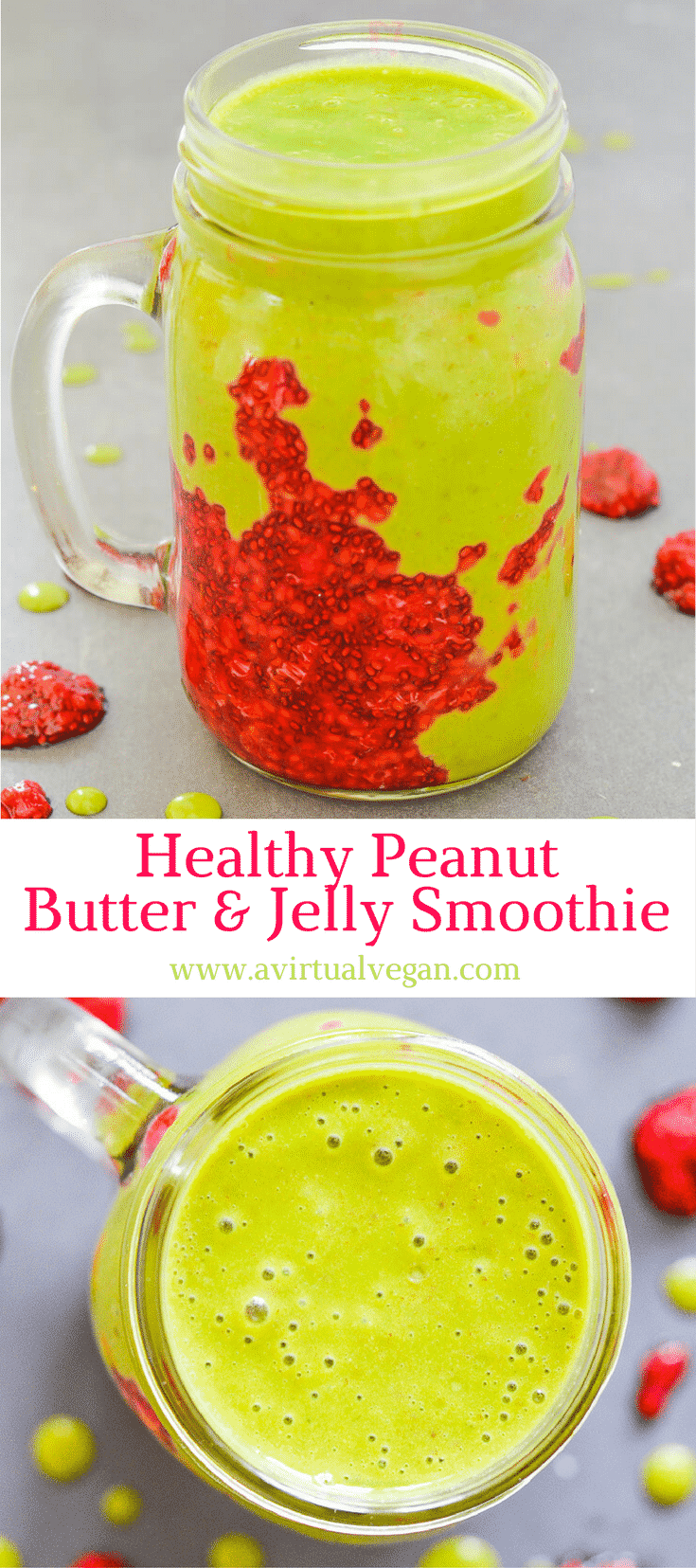 A sweet, creamy Peanut Butter & Jelly Smoothie stuffed with all sorts of healthy ingredients plus a beautiful smear of homemade raspberry chia jam. The perfect satisfying breakfast or snack with a whopping 8 grams of protein!