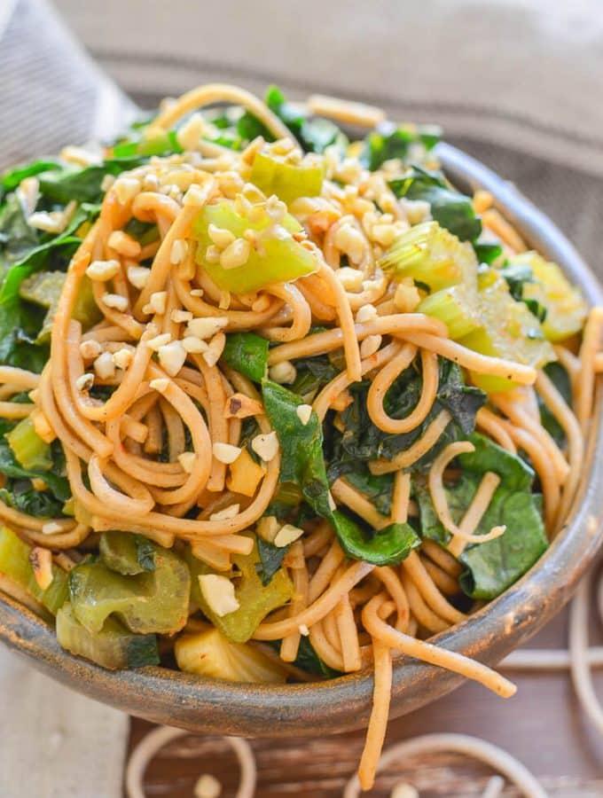 Spicy Swiss Chard Soba Noodle Stir Fry