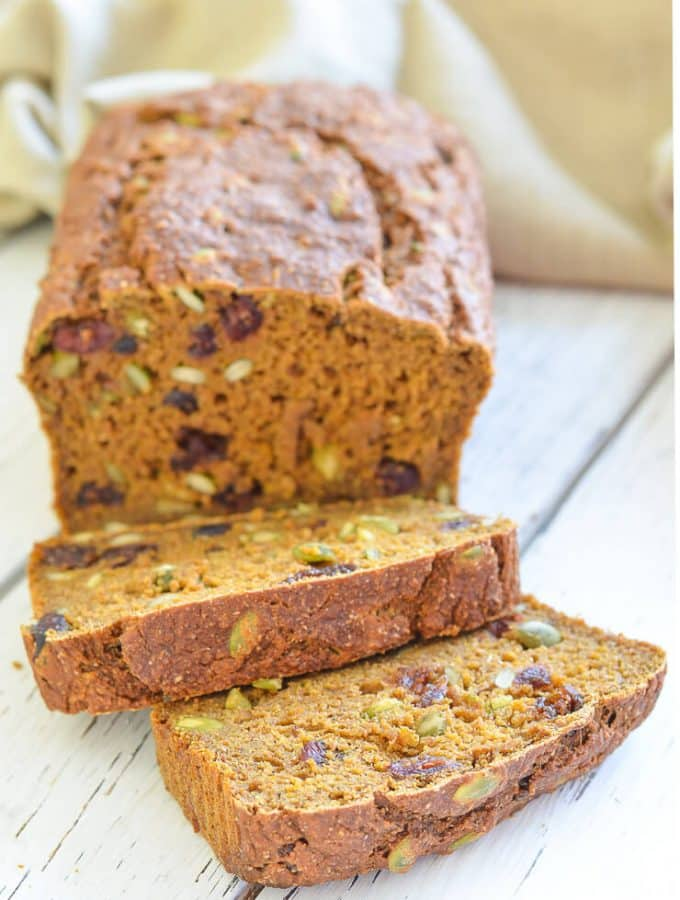 Vegan Pumpkin Bread with Cranberries & Pumpkin Seeds