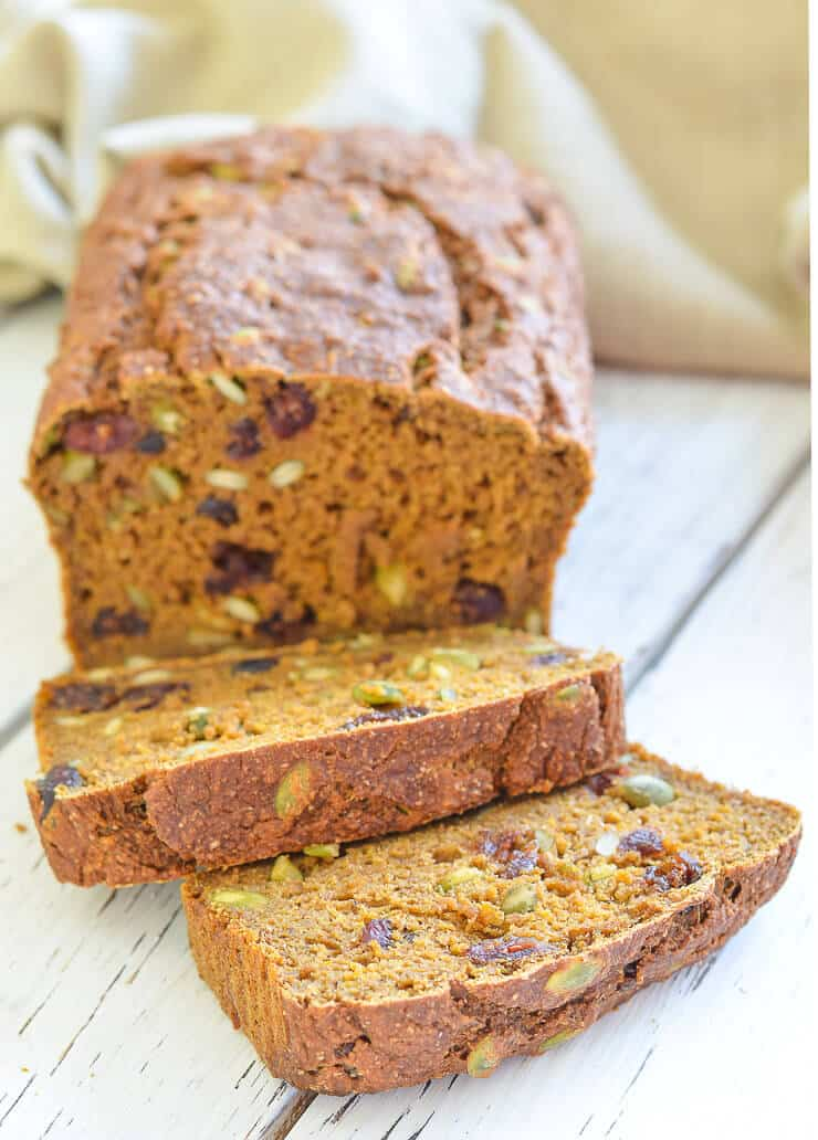 partly sliced vegan pumpkin bread