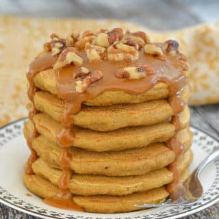 Vegan Sweet Potato Pancakes with Caramel Sauce