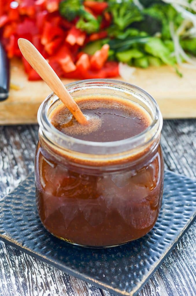 A quick & Easy Teriyaki Sauce that is absolutely packed with deep umami flavour. It is rich, thick & sticky & super versatile. Perfect for coating tofu or for saucing up stir fries, rice or noodle bowls!