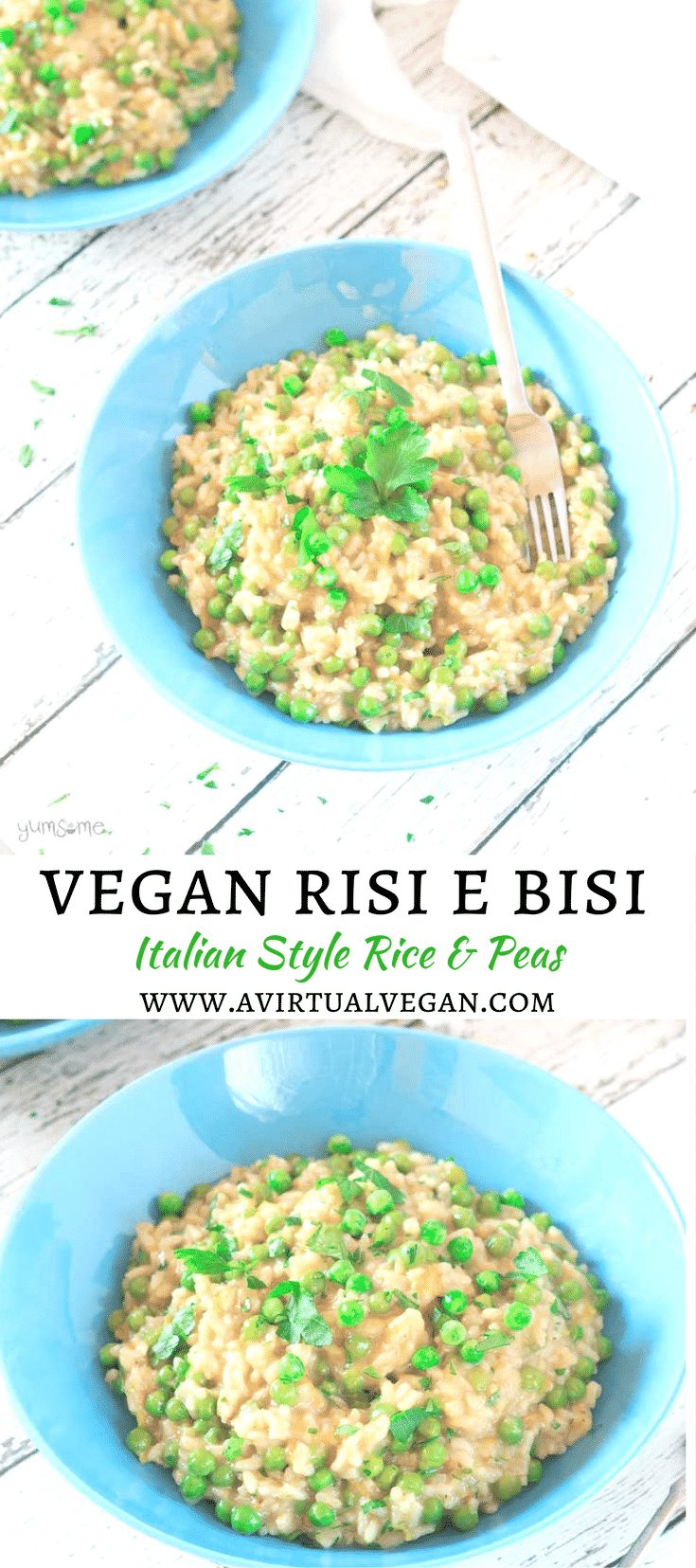 Creamy and velvety vegan Rise e Bisi. This delicious traditional rice dish from Venice is easy to make with just a handful of basic ingredients, and will take around 50 minutes of your time.