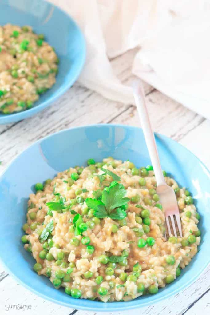 This vegan Risi e bisi is a creamy, almost velvety, rice dish, not unlike risotto, packed full of delicious spring peas. Great as a first course or entree.