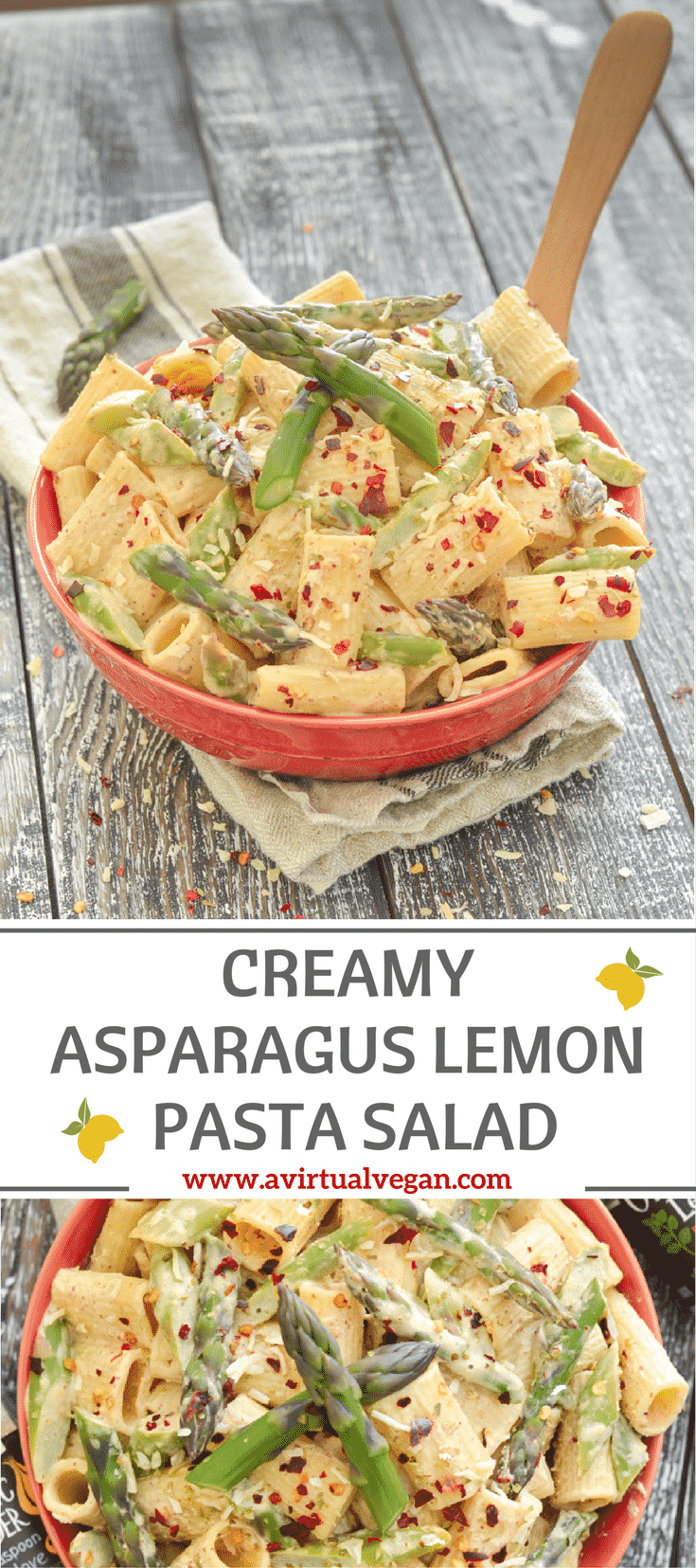 This Creamy Asparagus Lemon Pasta Salad is fresh & delicious, super easy to make, and perfect for quick mid week meals, make ahead lunches and gatherings!
