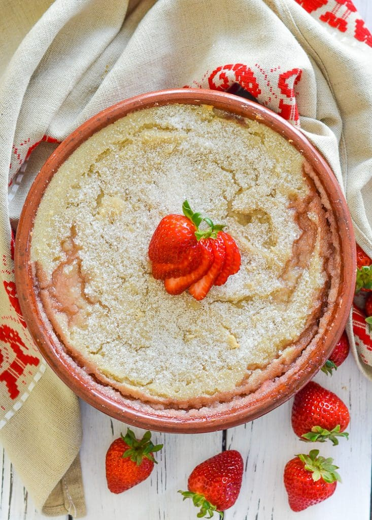 Semolina Pudding baked to perfection with saucy, sweet strawberries!