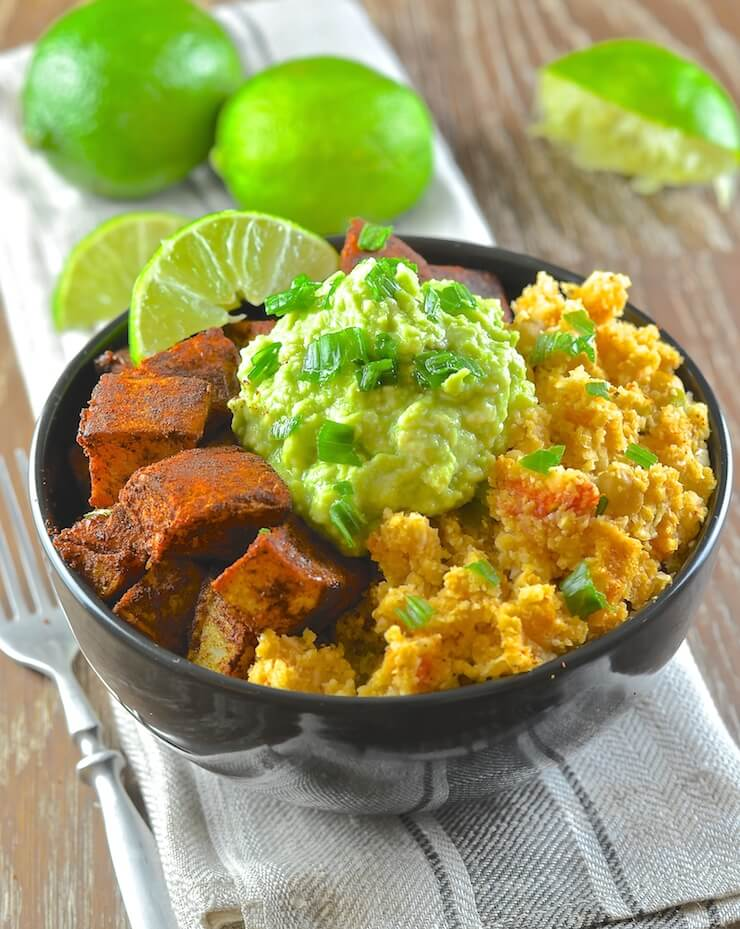 Vegan Mother's Day recipes - Find your bliss with The Classic Power Bowl from Blissful Basil. A delightful combination of spicy cauliflower rice, warming & crisp sweet potatoes & creamy, garlicky avocado mash