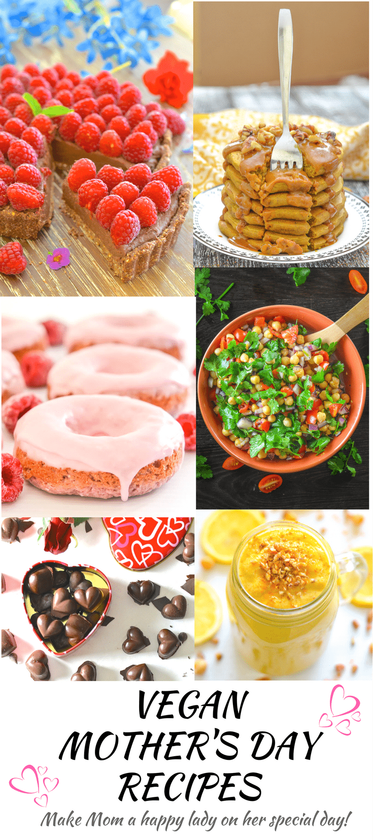 "Nothing says ""I love you"" more than spoiling your Mom with a day full of tasty Vegan Mother's Day Recipes. Here you will find a selection of Mom approved breakfast, lunch and dinner ideas. Even taking the time and effort to make just one will make your Mom one very happy lady!"