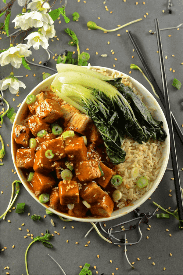 This Five Spice Tofu with Chili Ginger Sauce  is so fast and easy to make. It's sweet, sticky & spicy with amazing depth of flavour. A perfect mid-week meal! #tofu #5spice #fivespice #vegan