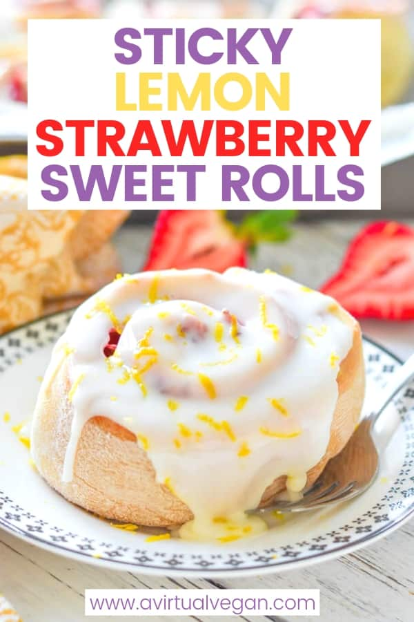 This Sticky Lemon Strawberry Sweet Rolls recipe is easy to make and downright decadent. Soft, fluffy, oozingwith sticky, sweet strawberry filling &covered in swathes ofzingy lemony frosting. Andit's ready in a little over 1 hour....Grab your rolling pin because it's time to get baking!