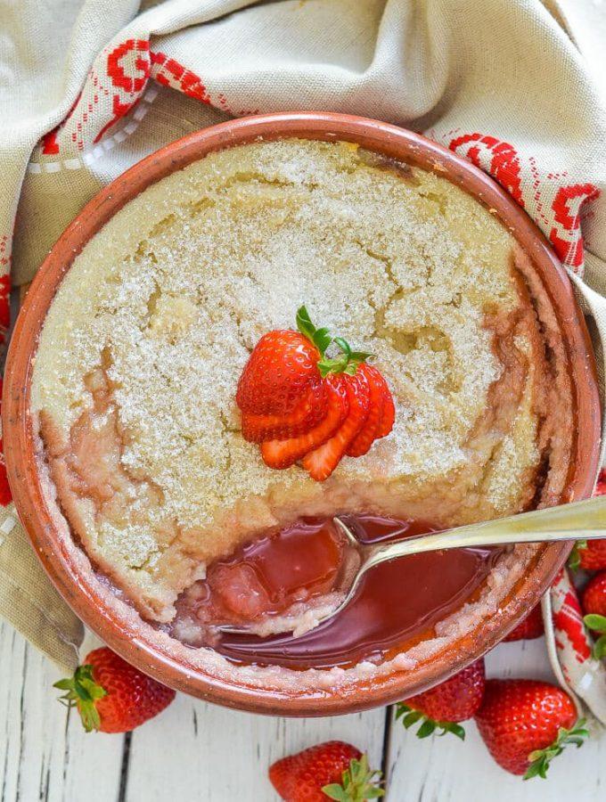 Baked Strawberry Semolina Pudding