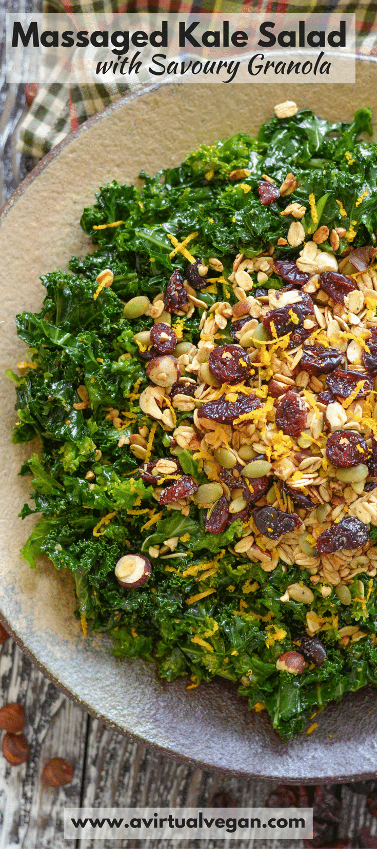 This healthy Massaged Kale Salad is dressed in a deliciously tangy orange vinaigrette then scattered generously with rosemary infused savoury granola.