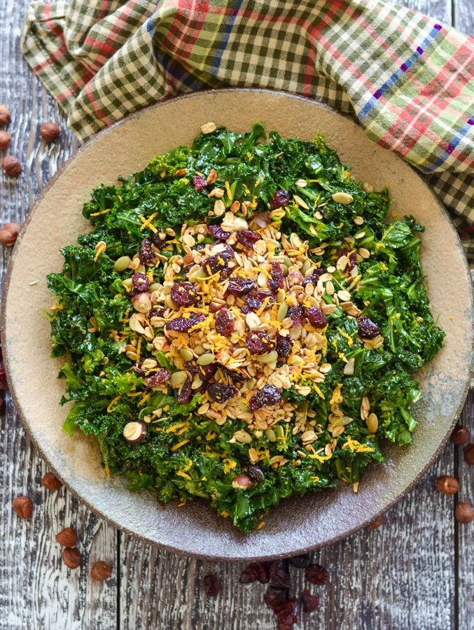 Massaged Kale Salad with Savoury Granola