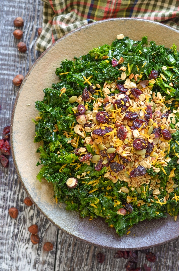 massaged kale salad with crispy, crunchy and chewy savoury granola topping
