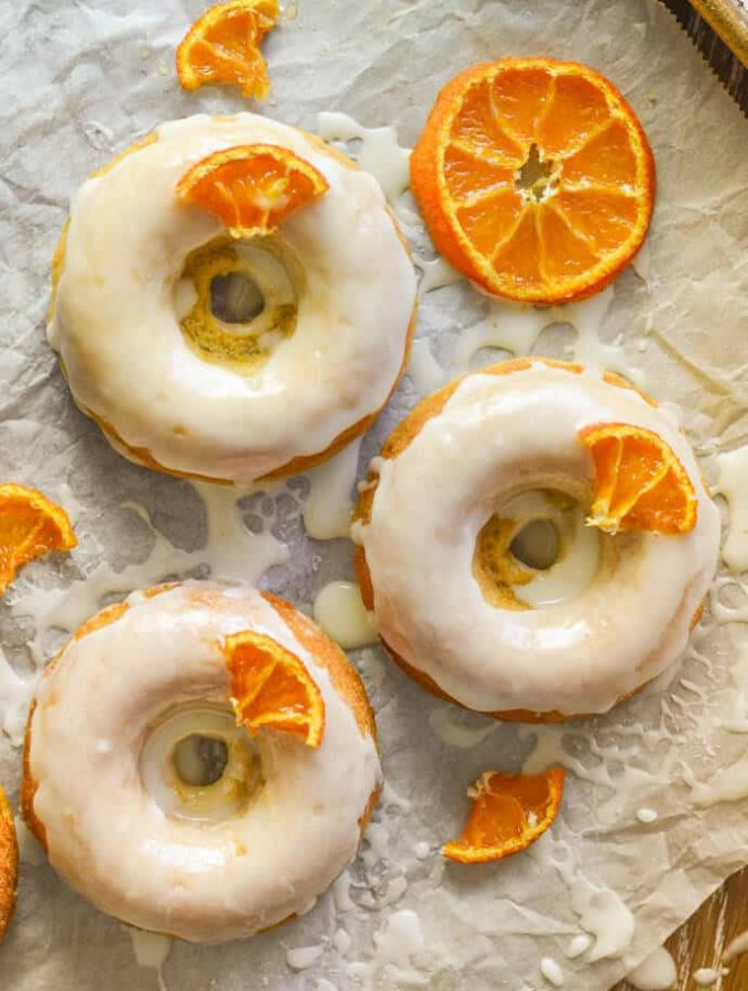 Sticky Orange Olive Oil Baked Donuts