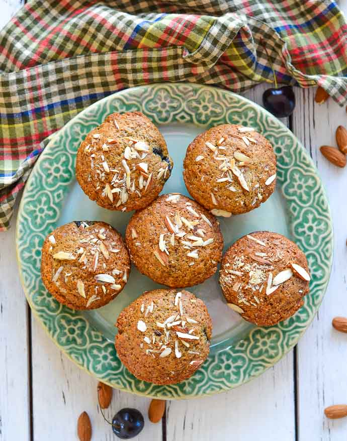 Almond Cherry Muffins on plate from above