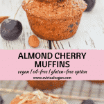Buttery, moist, soft Almond Cherry Muffins. Full of flavour & bursting with juicy cherries in every bite. And they can be made gluten-free!