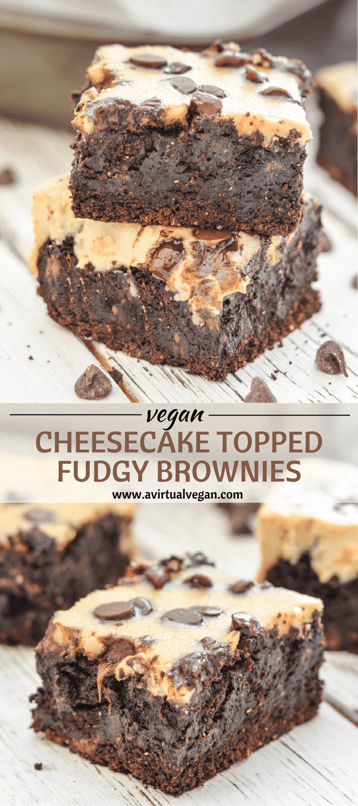 Indulgently rich, extra Fudgy Brownies made even better with a layer of creamy, slightly tart cheesecake & a smattering of chocolate chips. Gooey, chocolate perfection!