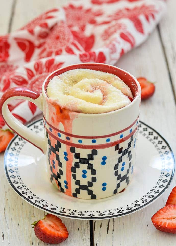Strawberry Sweet Roll Mug Cake