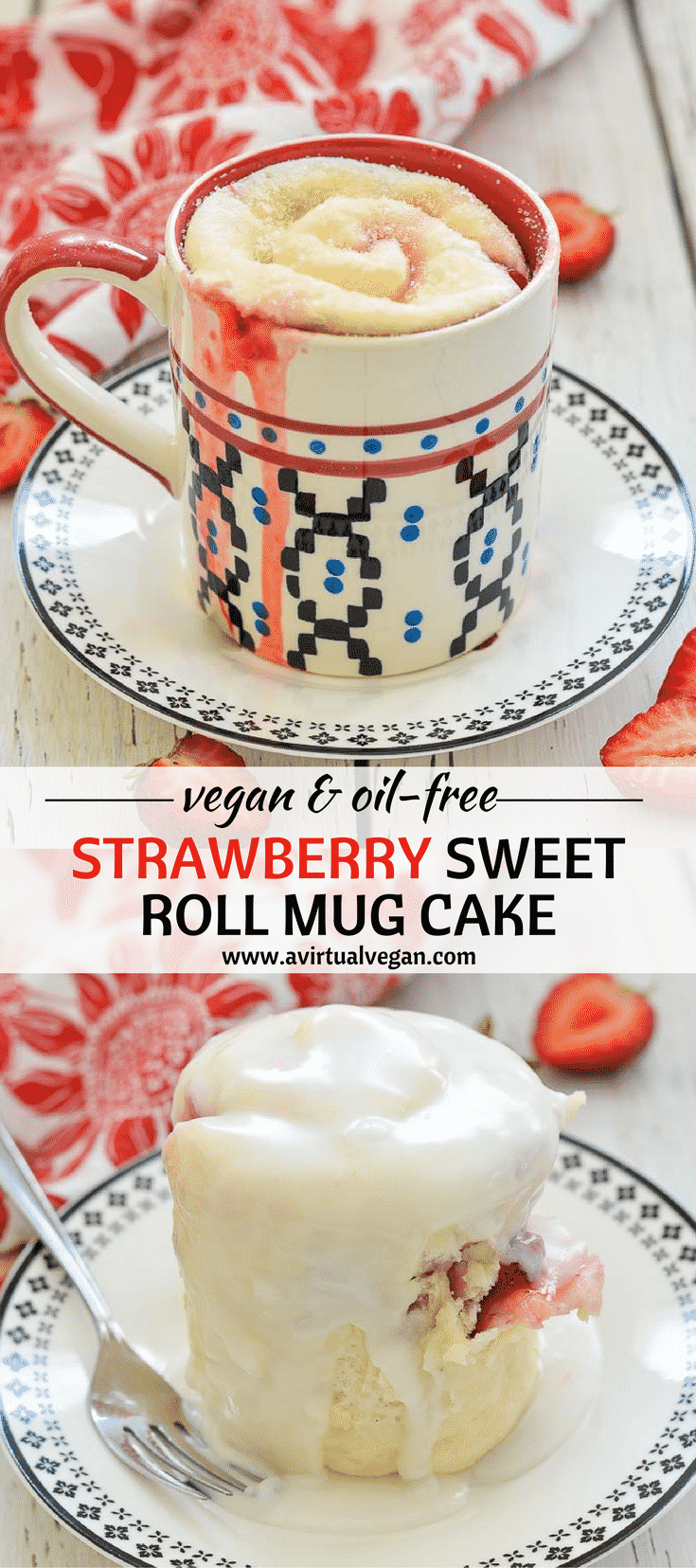 What's big, soft, squidgy, stuffed with sweet, juicy strawberries, drizzled in free flowing, thick, sweet frosting & ready in minutes??  Ummmm....this Strawberry Sweet Roll Mug Cake of course!