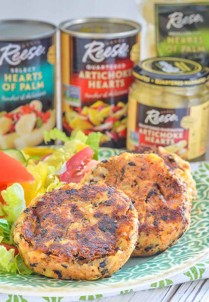 Use shredded hearts of palm and artichokes to make Thai Style Vegan Crab Cakes - A Virtual Vegan