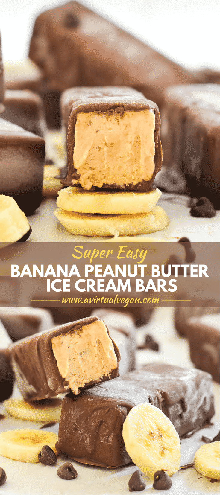 You are going to love these Super Easy Banana Peanut Butter Ice Cream Bars! They are ridiculously easy to make & only have 5 ingredients (plus salt)!