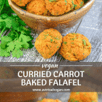 These Curried Carrot Baked Falafel are a healthy, super easy to make twist on traditional falafel. They are oil & gluten-free & packed with flavour. Serve them as part of a hearty plant-based meal, eat them as snacks, or pop them in packed lunches!